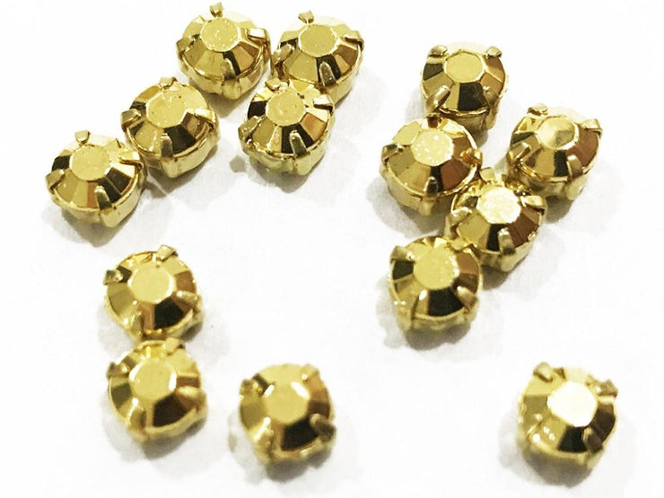 Golden Matte Circular Plastic Stones with Catcher (38 SS) (4541045342277)