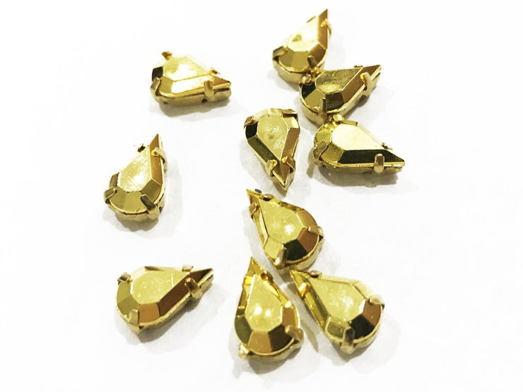 Golden Matte Drop Plastic Stones with Catcher (15x7 mm) (4541043769413)