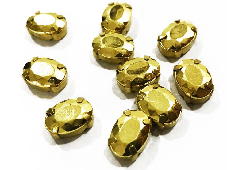 Golden Matte Oval Plastic Stones with Catcher (14x10 mm) (4541047144517)