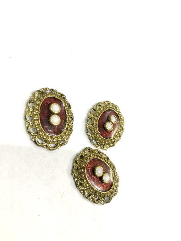 Golden Oval Metal Piece With Jaipuri Red Enamel