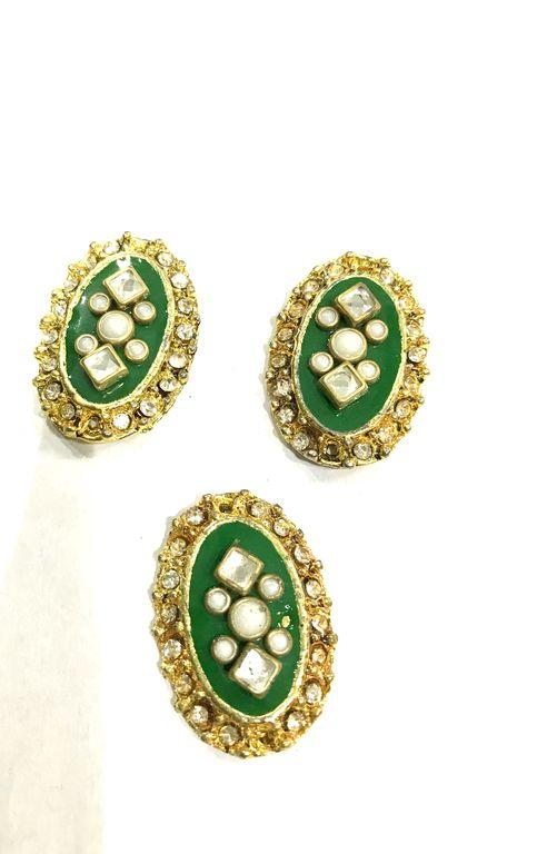 Golden Oval Metal Piece With Green Enamel
