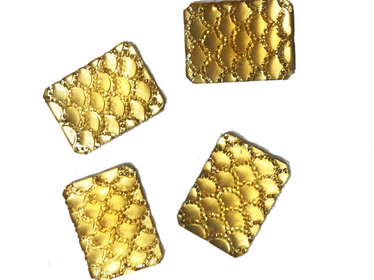 Golden Rectangular Resin Stones (30x40 mm) (4534044885061)