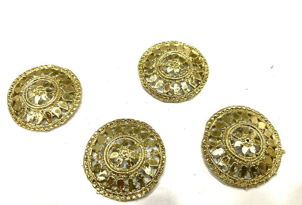 Golden Round Metal Piece Embellishment (27 mm)