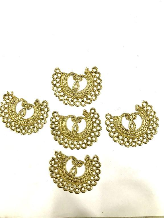 Golden Semi-Round Metal Piece Embellishments