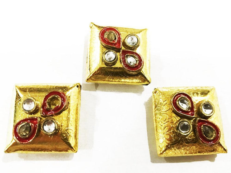 Golden Square Kundan Work Metal Show Buttons (26 mm) (4503140663365)