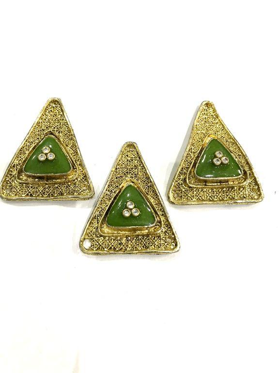 Golden Triangular Metal Piece With Green Enamel