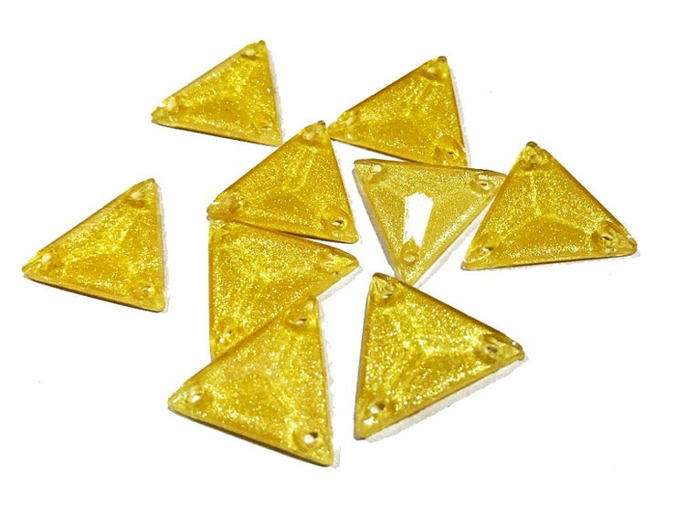 Golden Triangular Zari Plastic Stones (18x18x18 mm) (4516235214917)