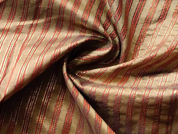 Golden Red Stripes Brocade Fabric