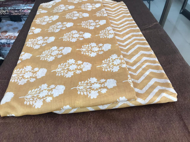 Golden Brown White Floral and Chevron Muslin Silk Fabric Combo