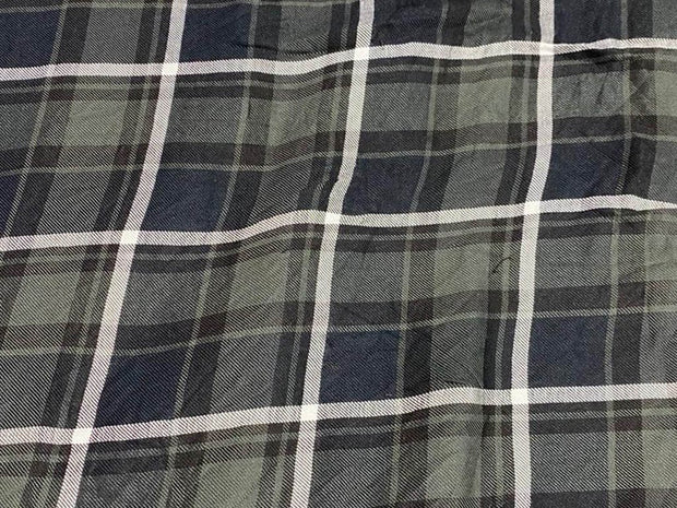 Gray Blue White Yarn Dyed Checks Printed Cotton Fabric