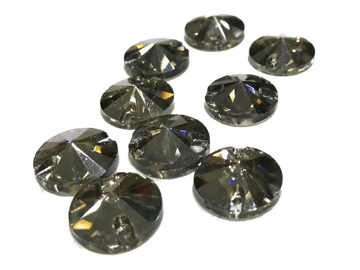 Gray Circular Glass Stones (14 mm) (4528636788805)