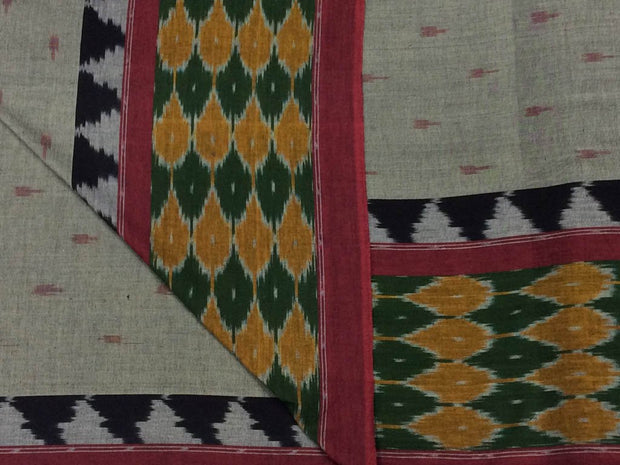 Gray Designer Pure Cotton Fabric with Green Ikat Border