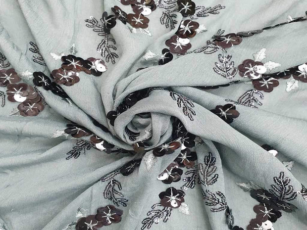Gray Floral Embroidered Chinon Chiffon Fabric | The Design Cart