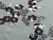 Gray Floral Embroidered Chinon Chiffon Fabric | The Design Cart (4365620641861)