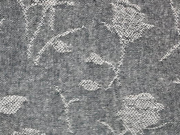 Gray Floral Printed Wool Fabric