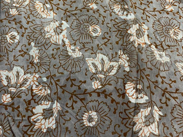Gray Flowers Kalamkari Printed Cotton Fabric