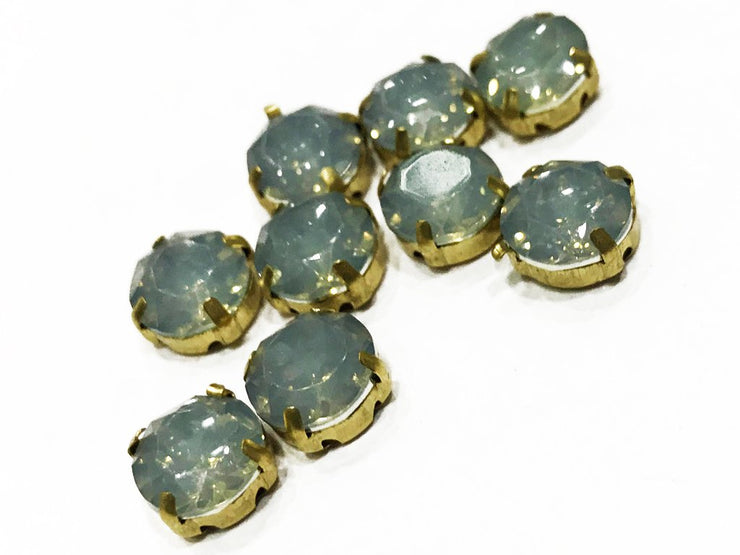 Gray Opal Circular Resin Stones with Catcher (10 mm) (4539500462149)