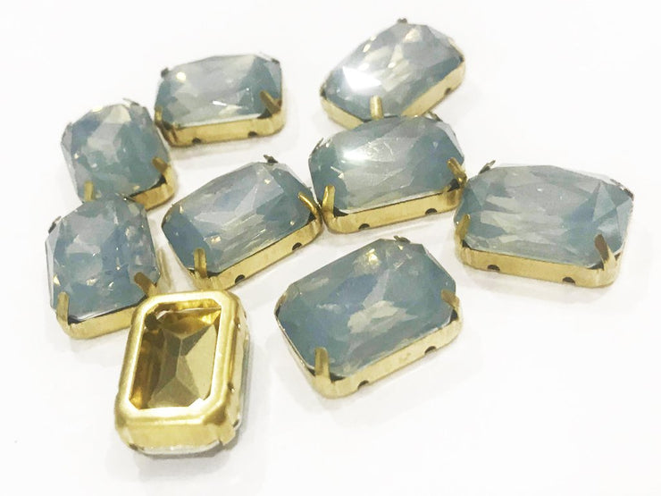 Gray Opal Rectangular Resin Stones with Catcher (18x13 mm) (4541064151109)