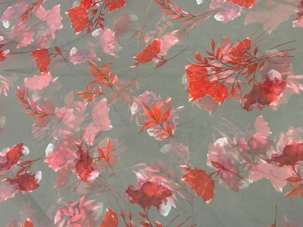 Gray Red Flowers Printed Organza Fabric
