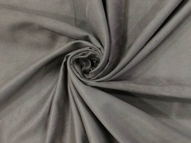 Gray Silver Plain Suede Fabric