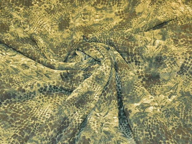 Green Animal Digital Printed Poly Georgette Fabric (4550300205125)