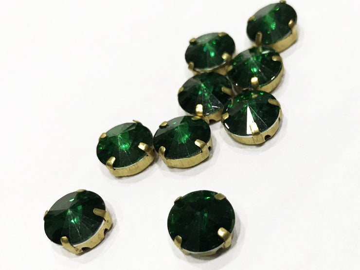 Green Circular Resin Stones with Catcher (10 mm) (4539551711301)