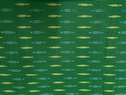 Green Yellow Blue Abstract Cotton Ikat Fabric