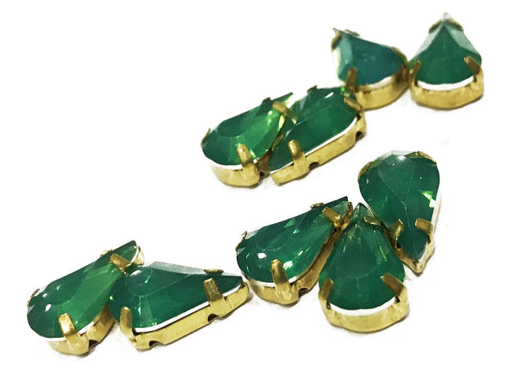 Green Drop Resin Stones with Catcher (13x8 mm) (4539622096965)