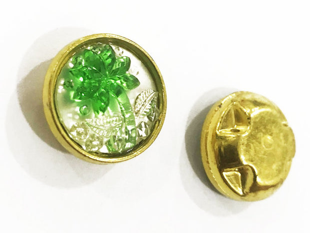 Green Flower Golden Frame Circular Plastic Show Button
