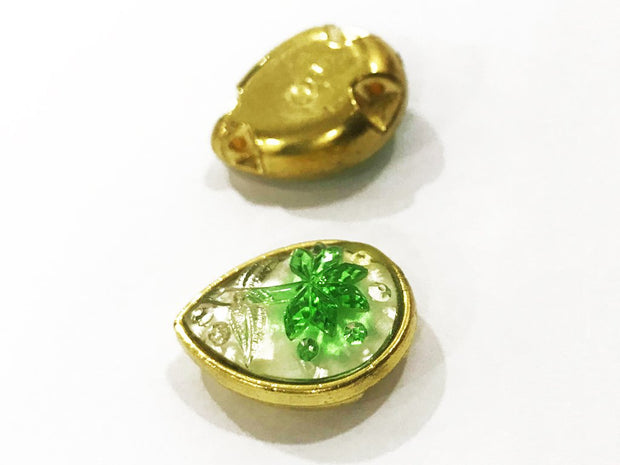 Green Flower Golden Frame Drop Plastic Show Button