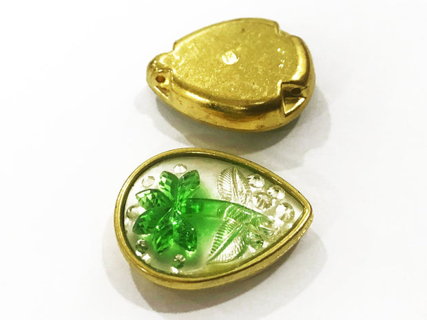 Green Flower Golden Frame Drop Plastic Show Button (25x18 mm)