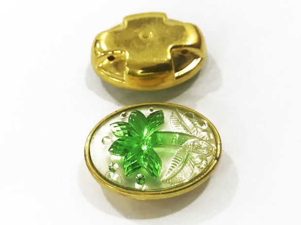Green Flower Golden Frame Oval Plastic Show Button (25x18 mm)
