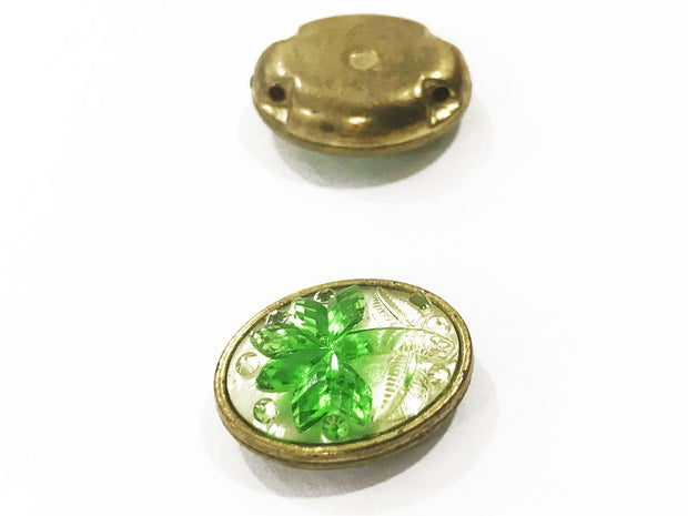 Green Flower Golden Frame Oval Plastic Show Button
