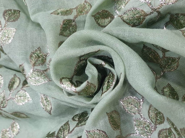 Green Flowers Embroidered Cotton Jute Fabric