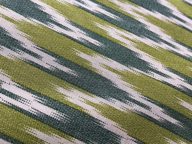 Green Gray Chevron Designer Cotton Ikat Fabric (4575627345989)