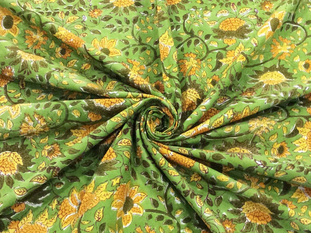 Green Mustard Flowers Block Printed Cotton Fabric