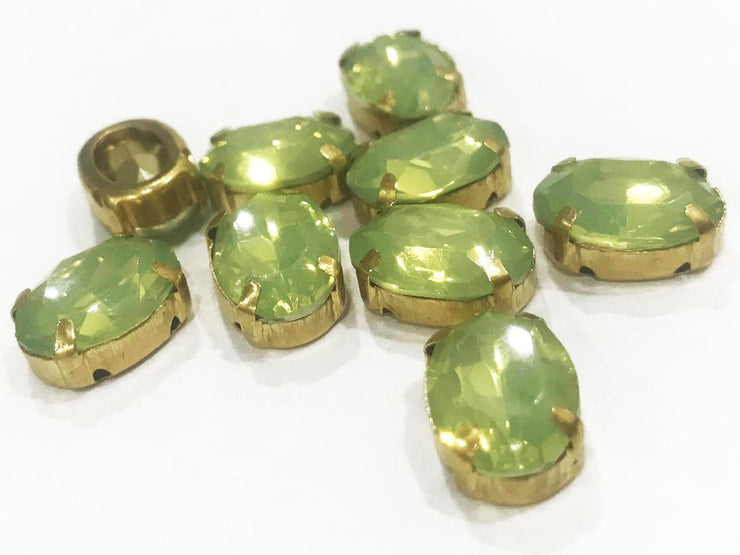 Green Opal Oval Resin Stones with Catcher (14x10 mm) (4541114613829)