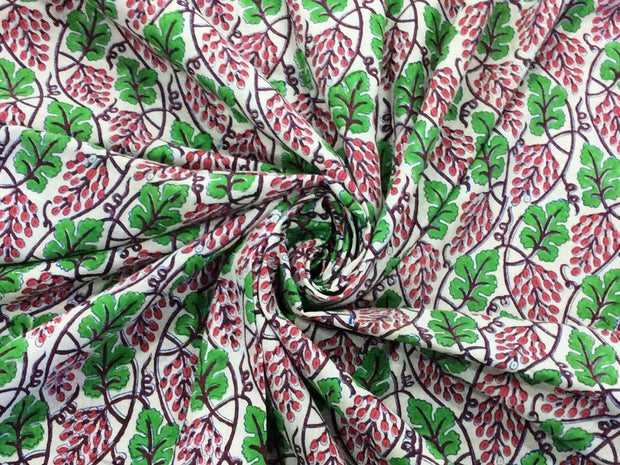 Green Pink Leaves Block Printed Cotton Fabric