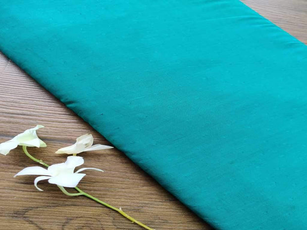 Green Self Weaved Plain Cotton Fabric