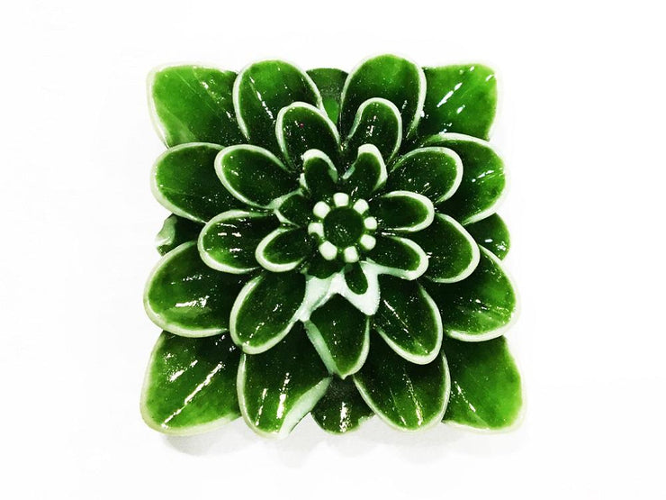 Green Square Resin Flower Stones (With Hole- 32x32 mm) (4545377861701)