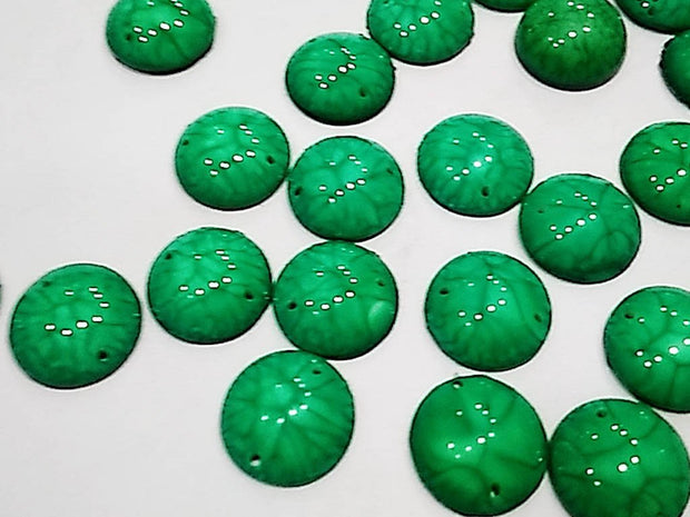 Green Textured Circular 2 Hole Plastic Stones (16 mm)