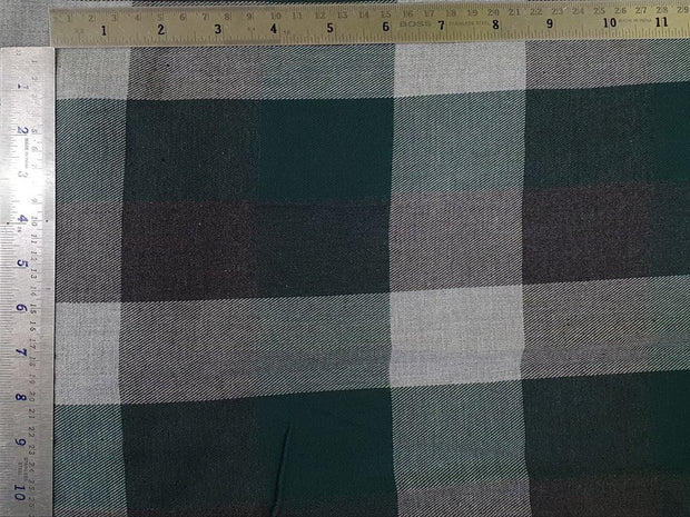 Green and Gray Melange Brushed Checks Yarn Dyed Twill Cotton Fabric