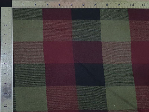 Green and Red Yarn Dyed Checks Twill Cotton Fabric