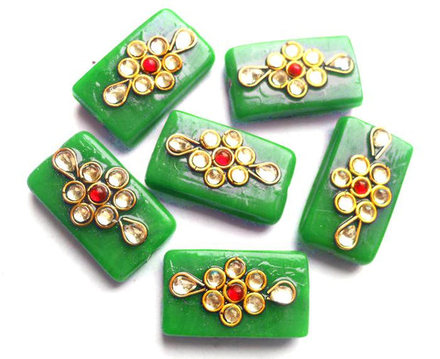 Green Rectangular Kundan Stone Beads (22x12 mm) (4543941083205)