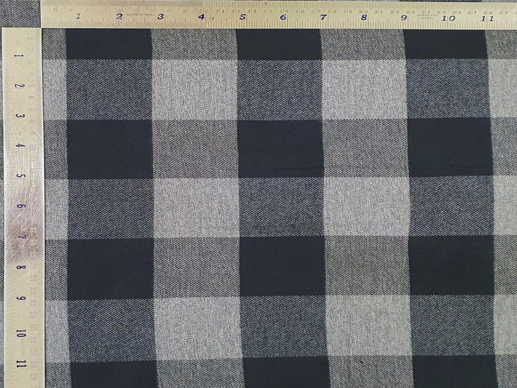 Gray And Black Brushed Checks Yarn Dyed Cotton Twill Fabric (4534111600709)