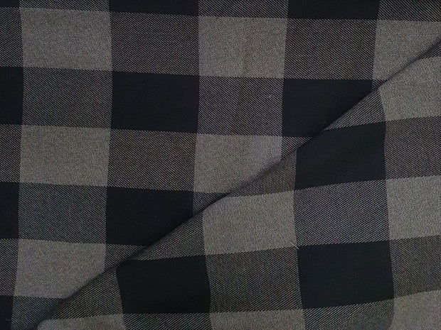 Gray And Black Brushed Checks Yarn Dyed Cotton Twill Fabric