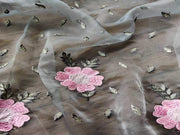 Gray Pink Floral Embroidered Organza Fabric (4545969291333)