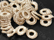 Beige 1 CM Round Crochet Thread Rings | The Design Cart