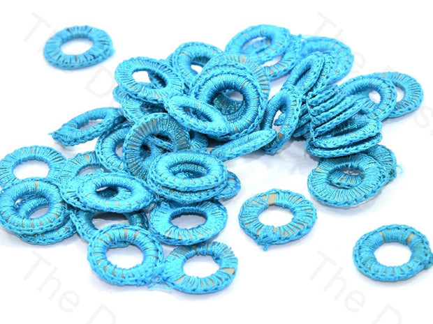 Sky Blue Small Round Crochet Thread Rings | The Design Cart