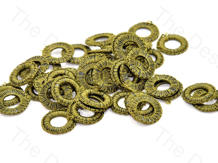 Olive Green Small Round Crochet Thread Rings | The Design Cart (538807336994)